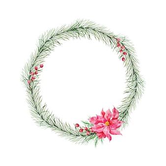 Wieniec bożonarodzeniowy z jodłą, czerwonymi zimowymi jagodami i czerwonym zimowym kwiatem poinsecji. wieniec zimowy malowany akwarelą