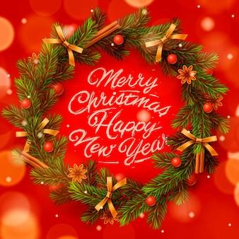 Wieniec bożonarodzeniowy z napisem: wesołych świąt i szczęśliwego nowego roku. kartka z życzeniami