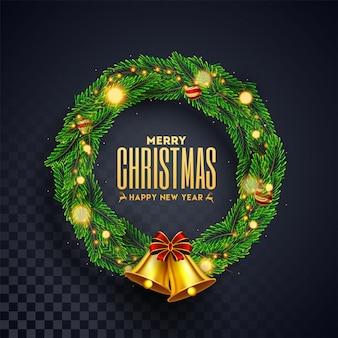 Wieniec bożonarodzeniowy ze złotym dzwoneczkiem na czarnym przeźroczystym na uroczystości wesołych świąt i szczęśliwego nowego roku.