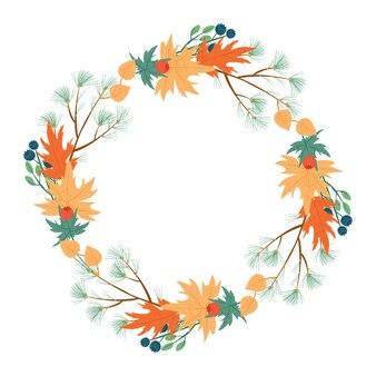 Wieniec jesienny. bukiet jodłowych gałęzi i żółtych liści