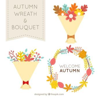 Wieniec kwiatów i bukiety z kwiatów jesieni