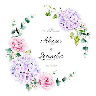 Wieniec kwiatów i zieleni hortensji. styl akwareli.