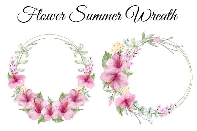 Wieniec kwiatów letnich z akwarelą hibiskusa