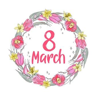 Wieniec kwiatów na międzynarodowy dzień kobiet w marcu. ilustracja