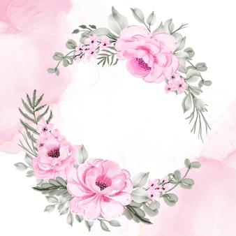 Wieniec kwiatów różowy ilustracja akwarela