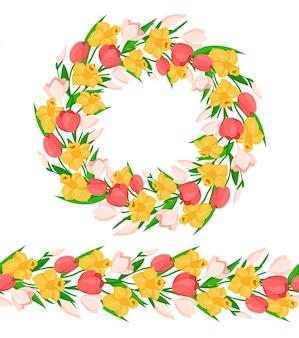Wieniec kwiatowy i obramowanie z kolorowymi wiosennymi kwiatami - żółty żonkil, różowy tulipan, przebiśnieg