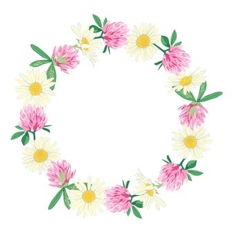 Wieniec kwiatowy na białym tle