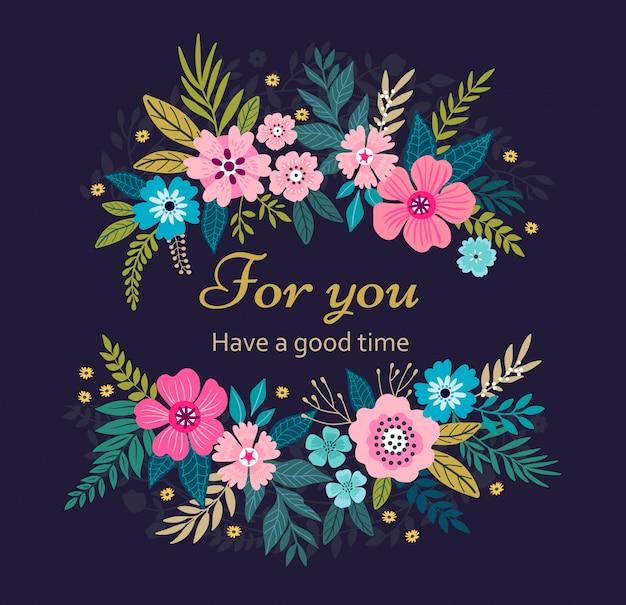 Wieniec kwiatowy na ciemnym niebieskim tle. jasne kolorowe wiosenne kwiaty. śliczne retro kwiaty ułożone w kształcie wieńca.