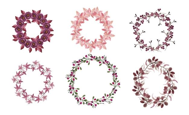 Wieniec kwiatowy. okrągłe obramowania wykonane z ręcznie rysowanych ziół i kwiatów. ramka ziołowa.