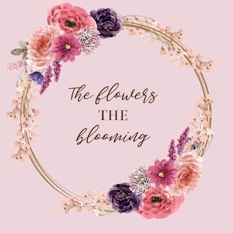Wieniec kwiatowy wina z łubinu, lisianthus, piwonia akwarela ilustracja