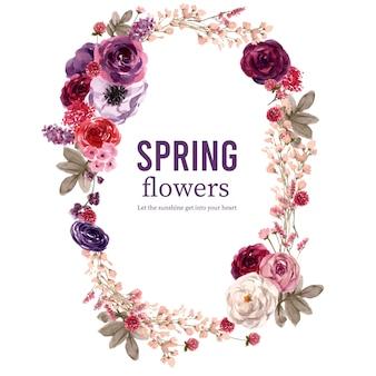 Wieniec kwiatowy wina z róży, piwonia, glob amarantu akwarela ilustracji