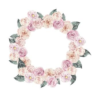 Wieniec kwiatowy z delikatnych róż akwarela