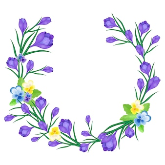 Wieniec kwiatowy z fioletowych kwiatów.