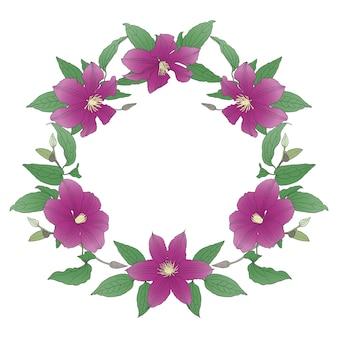Wieniec kwiatowy z kwiatami powojników.