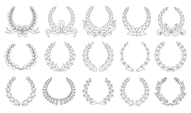 Wieniec laurowy. kolekcja różnych czarnych okrągłych wieńców laurowych, oliwnych, pszennych przedstawiających nagrodę, osiągnięcie, heraldykę, szlachtę. insygnia premium, tradycyjny symbol zwycięstwa.