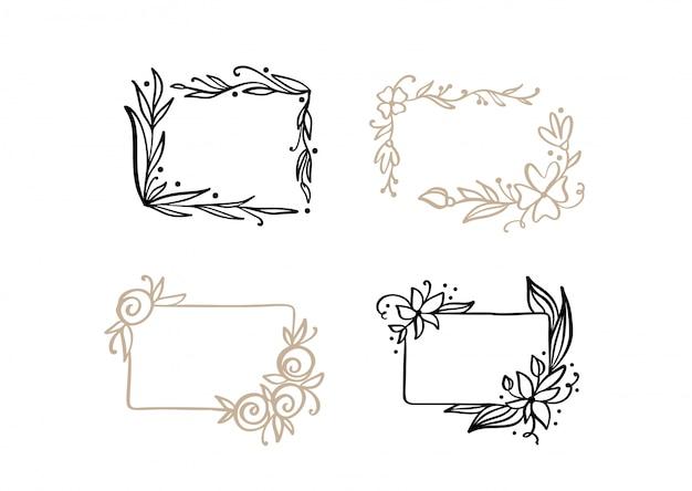Wieniec ramki ślubne kaligraficzne wektor z miejscem na tekst. izolowany rozkwit rocznika element projektu