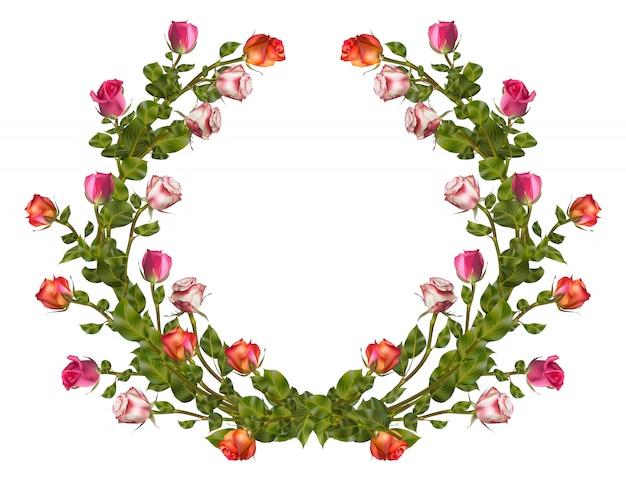 Wieniec róż z miejsca na kopię. plik w zestawie