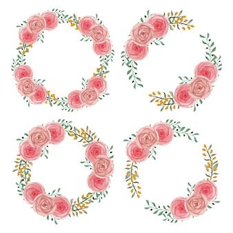 Wieniec różowy kwiat róży w ręcznie malowane akwarelą