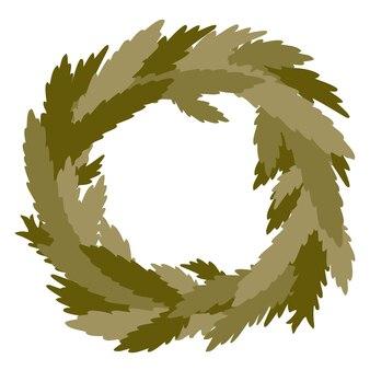 Wieniec świąteczny, wiecznie zielone gałęzie, sosna, wieniec na drzwi. wektor wieniec świąteczny na białym tle.