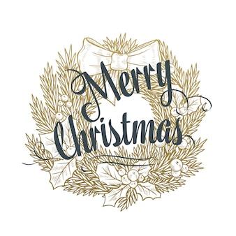 Wieniec świąteczny z napisem.