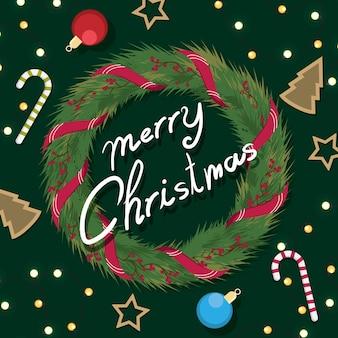 Wieniec świąteczny z wstążkami z czerwoną kokardką.