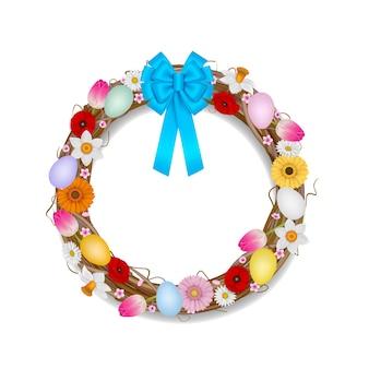Wieniec Wielkanocny Z Gałęzi, Kwiatów I Ilustracji Kolorowych Jaj Premium Wektorów