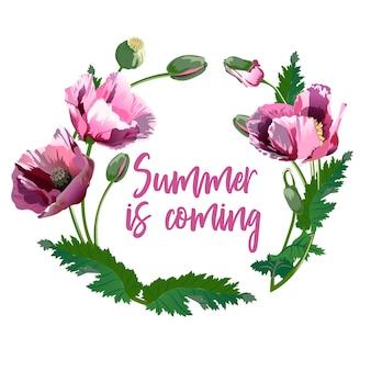 Wieniec wiosennych kwiatów - plakat, zaproszenie lub baner