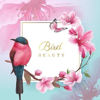 Wieniec z akwarela ilustracja kwiat ptak koncepcja projektowania