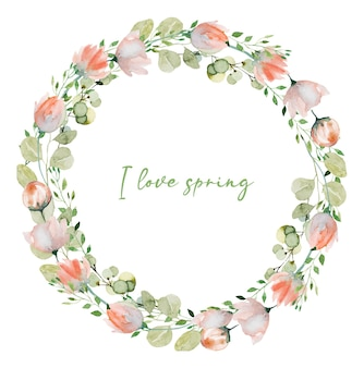 Wieniec z akwarela wiosenne rośliny różowe delikatne polne kwiaty, zieleń i gałęzie eukaliptusa ręcznie malowane pojedyncze ilustracje