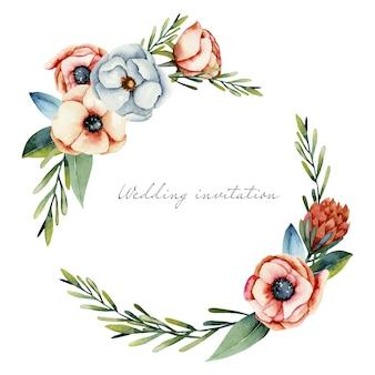 Wieniec z akwareli i białych kwiatów anemonu i protea
