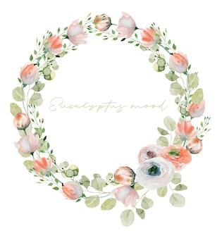 Wieniec z akwareli wiosennych roślin różowe delikatne polne kwiaty, zieleń i gałęzie eukaliptusa