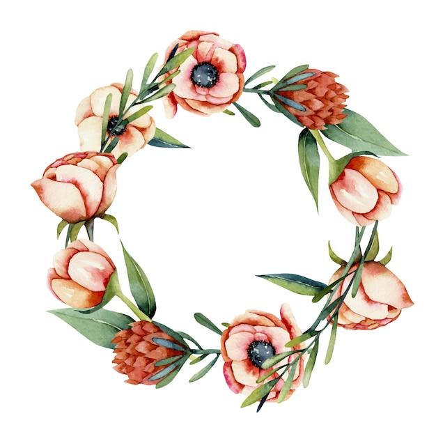 Wieniec z kwiatów koralowych akwarela anemon i protea