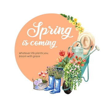 Wieniec z kwiatów tulipanów, dziewanny, linum, ruellia akwarela ilustracja.