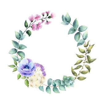 Wieniec z liści i kwiatów.