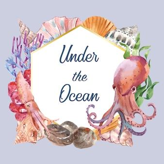 Wieniec z motywem sealife, szablon akwarela ilustracja kreatywny element
