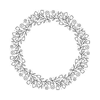 Wieniec z okrągłej ramki kaligraficznej. izolowany rozkwit rocznika element