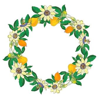 Wieniec z passiflory, passiflory, pomarańczy, żółtych owoców. kwiatowa ramka