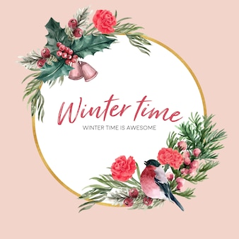 Wieniec zimowy z ptakiem, kwiatowy, foliages