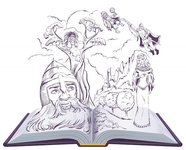Wiersz rusłana i ludmiły. otwarta książkowa ilustracyjna rosyjska bajka