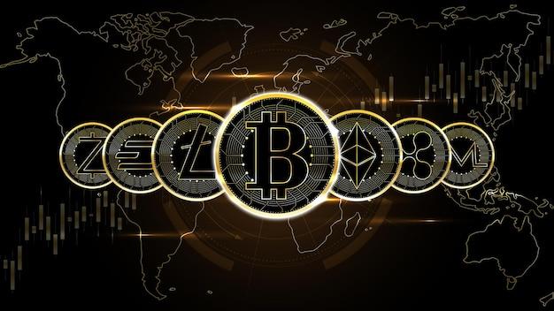 Wiersz słynnych monet kryptowalutowych w tle technologii cyfrowej sieci pieniędzy