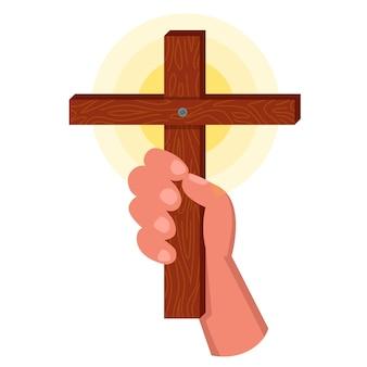 Wierzący trzyma w ręku drewniany krzyż. ilustracja wektorowa płaskie.