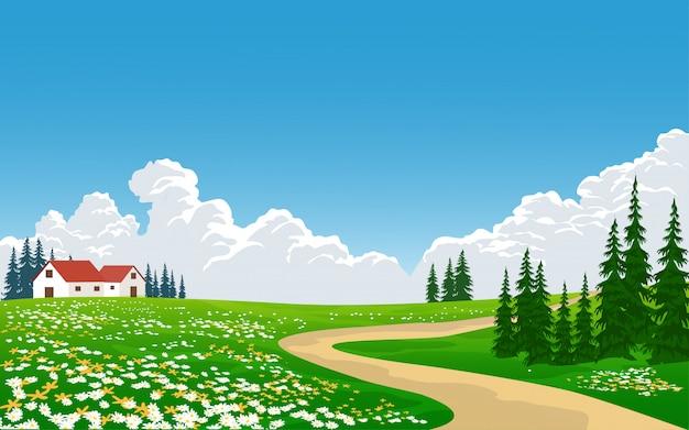 Wieś krajobraz z chodnikiem i kwiatami w polu