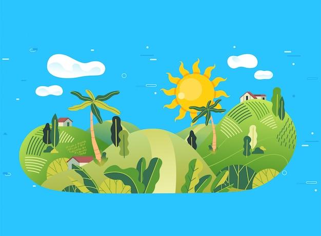 Wieś na górskiej ilustracji z wieloma drzewami, małym domkiem i pięknym krajobrazem