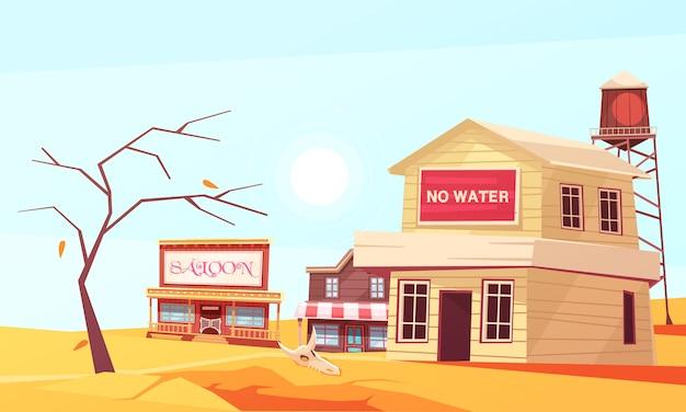 Wieś na pustyni cierpiąca z powodu suszy