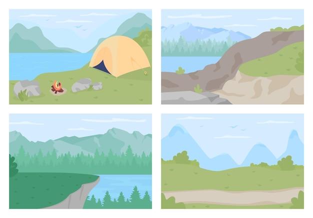 Wieś wakacje płaski kolor wektor zestaw ilustracji. malownicze wyżyny na piesze wycieczki. trasy trekkingowe w lesie. wiosna i lato 2d krajobraz kreskówka z górami na tle kolekcji