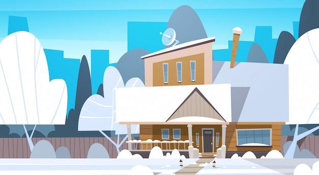 Wieś zima krajobraz dom budynek z śniegiem na górze miasto lub miasto przedmieście ulica