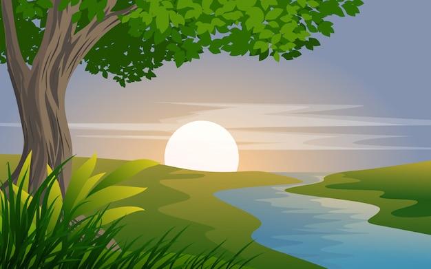 Wieś zmierzch lub wschód słońca z rzeką