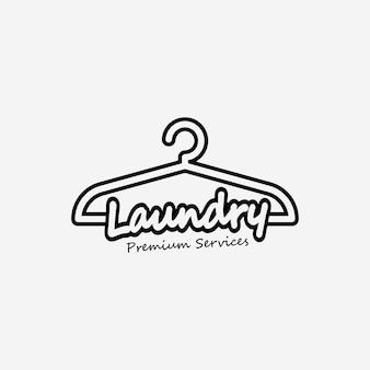 Wieszak na pranie line art logo vector design illustration, pralnia, minimalistyczne logo