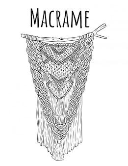 Wieszak ścienny w stylu boho macrame. element projektu wiązania tekstylnego. proste mono-liniowe nowoczesne miejscowe rzemiosło