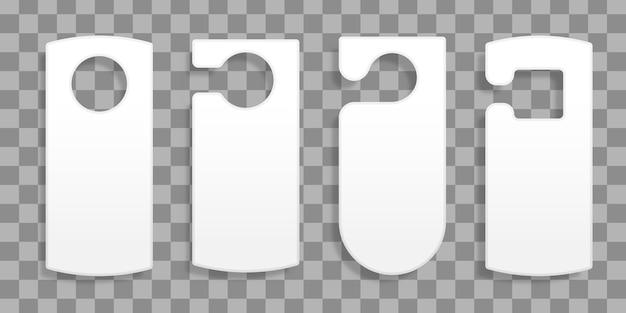 Wieszaki Na Drzwi Do Pokoju W Hotelu Lub Ośrodku Na Przezroczystym Tle. Zbiór Różnych Pustych Tagów Wieszaków Na Drzwi Lub Szablonów Etykiet Bez Tekstu. Nie Przeszkadzać. Ilustracja. Premium Wektorów